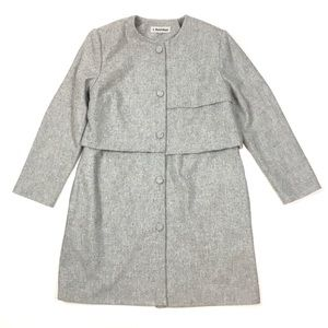 J. Peterman wool car coat jacket hip length gray